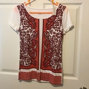 Ann Taylor T-Shirt Orange and Burgundy Pattern XS